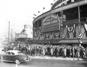 Baseball Fans Waiting Outside Wrigley Field