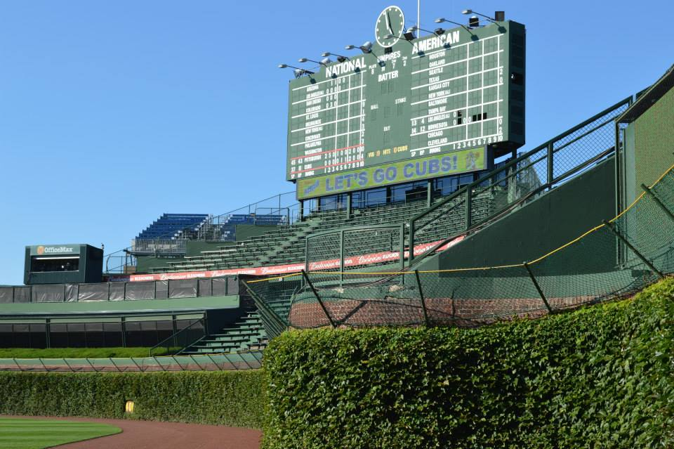 Wrigley scoreboard from the field